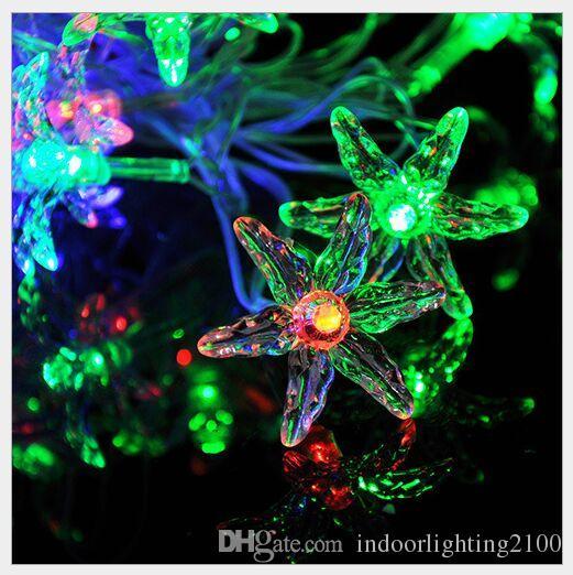 4 M 20 Luces AC110V / 220 V Led Seis Hojas de Lámparas de Hierba Hoja de Halloween Decoración de Navidad Festival de Luces Nocturnas de Noche luces de Flash