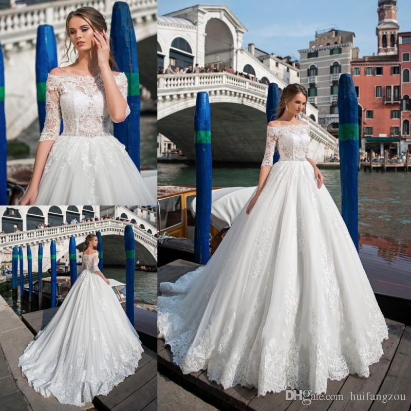 Pentelei 2019 Tallas grandes Vestidos de novia con encanto Cuello pequeño apliques de encaje con mangas de playa Vestidos de novia Bohemia Princesa Vestido de novia