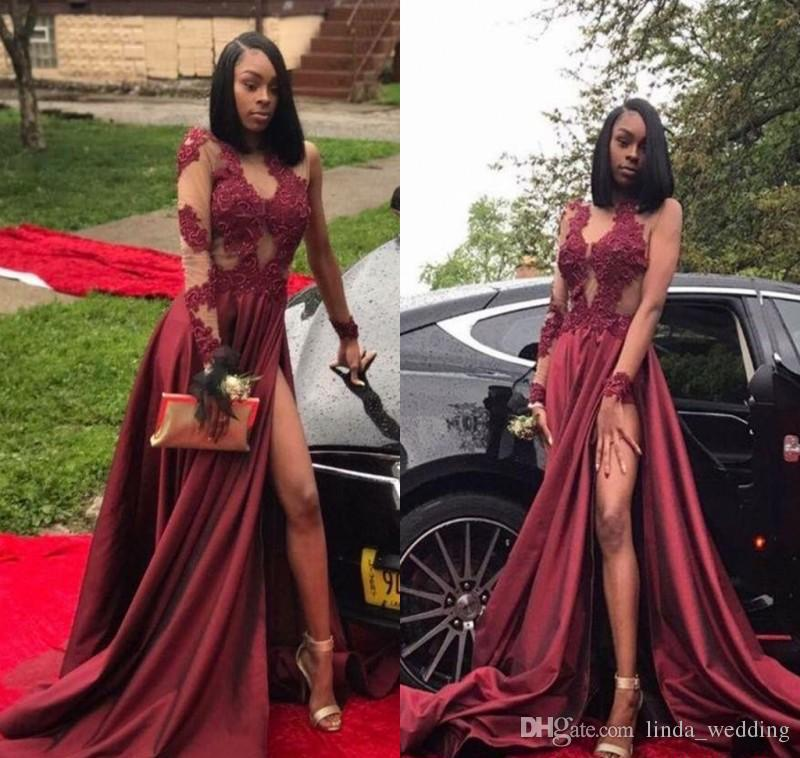 2019 Dark Red Prom Dress Black Girls High Slit Long Sleeves Formal Holidays  Wear Graduation Evening Party Gown Custom Made Plus Size Cheap Ball Gown
