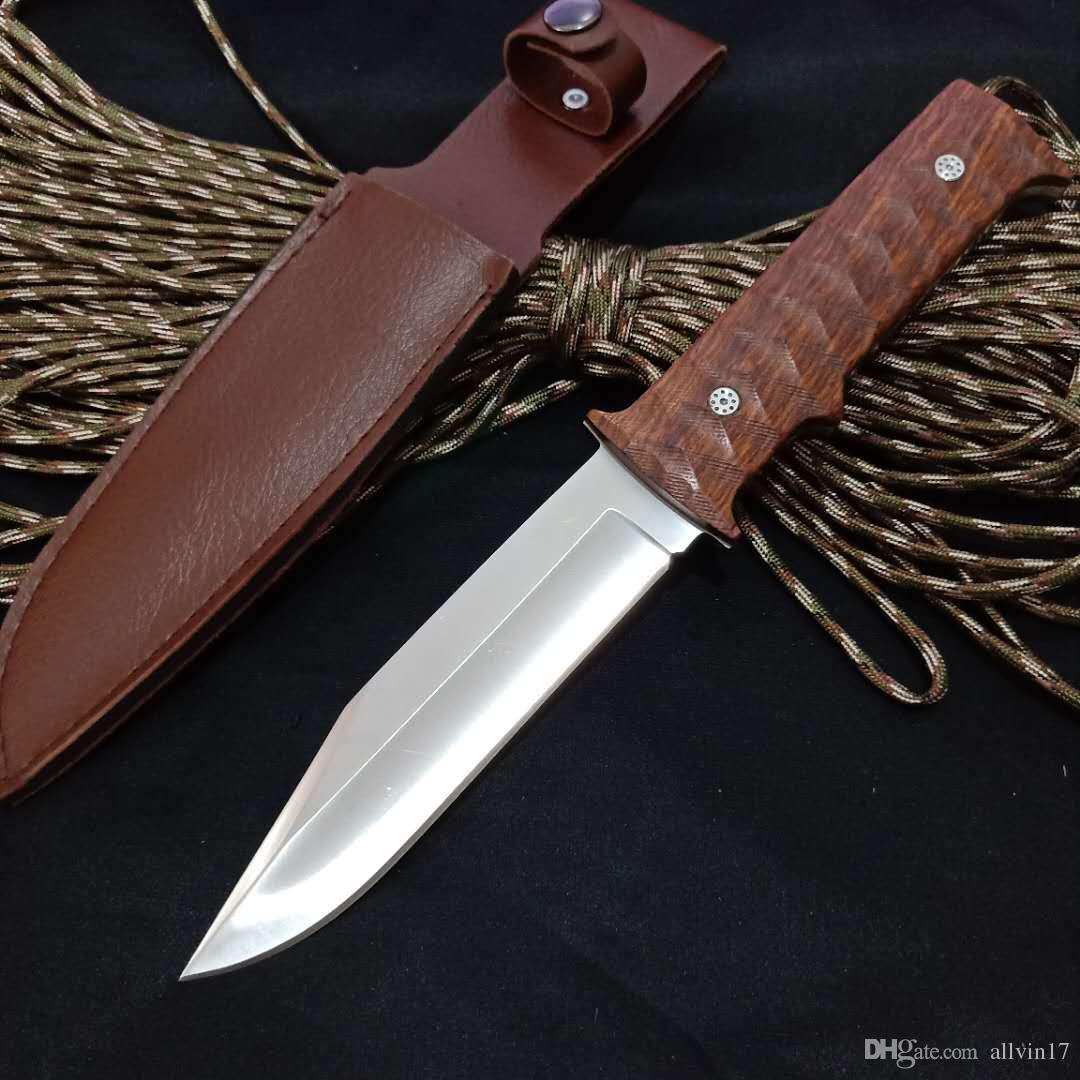 1Pcs Wood Handle Survival Straight Knife 440C Satin Blade Rosewood Handle Fixed Blade Knives With Leather Sheath