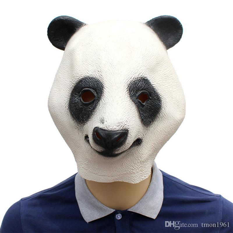 Latex Lovely Panda Head Mask Halloween Party Cosplay Costumes Props Supplies Animal Head Full Face Mask For Adults