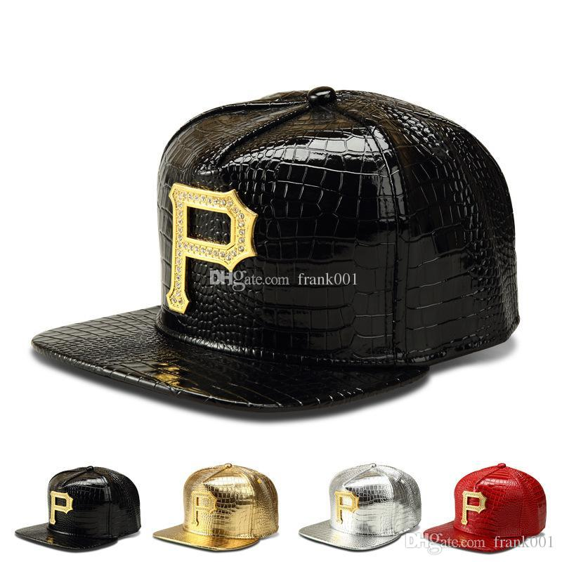 새로운 스타일 P 로고 골든 PU 가죽 snapback 야구 모자 다이아몬드 악어 그레인 남성 여성 DJ Rap 스포츠 힙합 모자