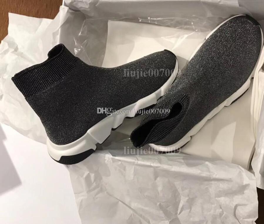 Gute Qualität Großhandel Geschwindigkeit Trainer Freizeitschuh Mann Frau Billig Sneaker Mit Box Stretch-Knit Lässige High Top Designer Schuhgröße 35-46