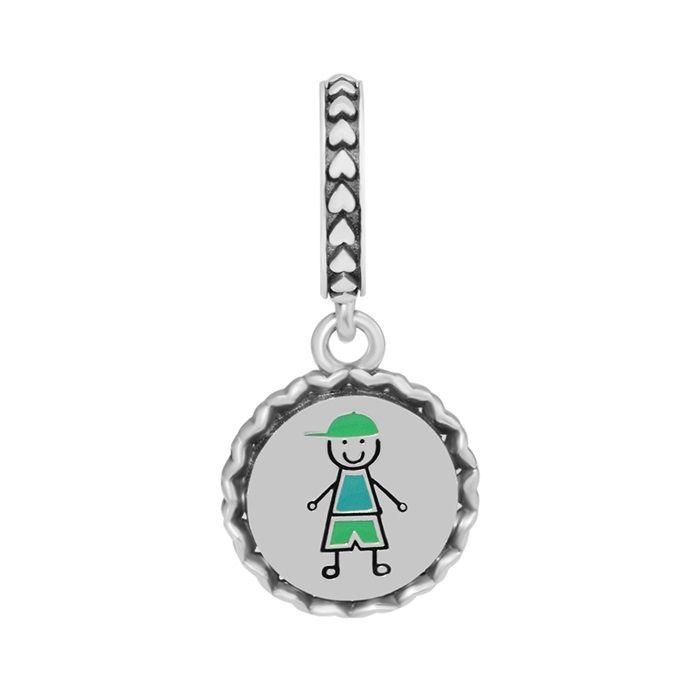 boy charms pendant new 2018 S925 silver fits for pandora style bracelet Stick Figure Dangle ENG792018_3 H8