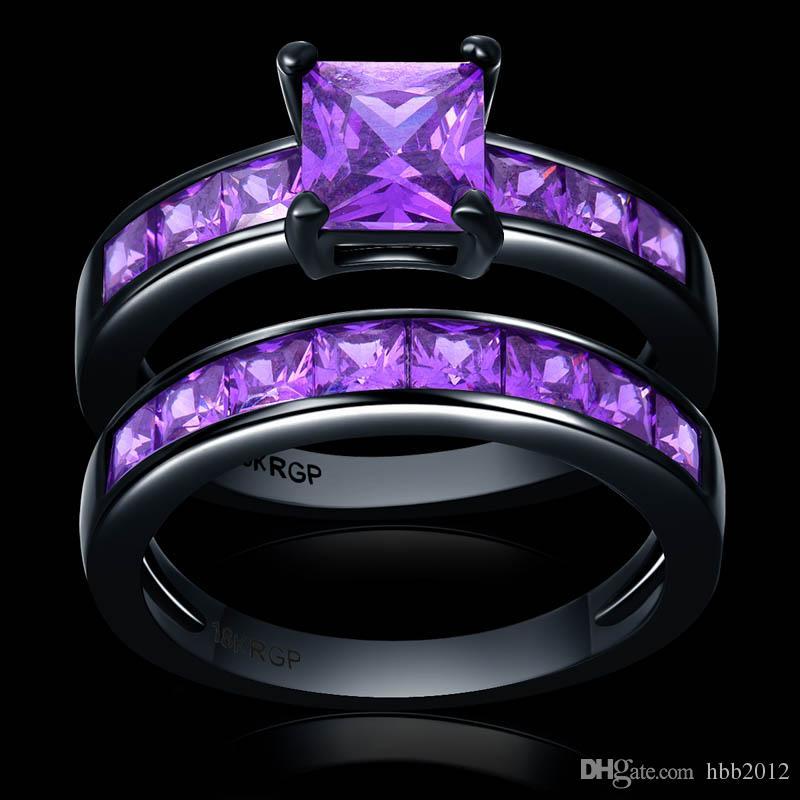 Noble cuadrado púrpura CZ Circonito pareja Anillos Set oro negro Alianza de boda para mujeres