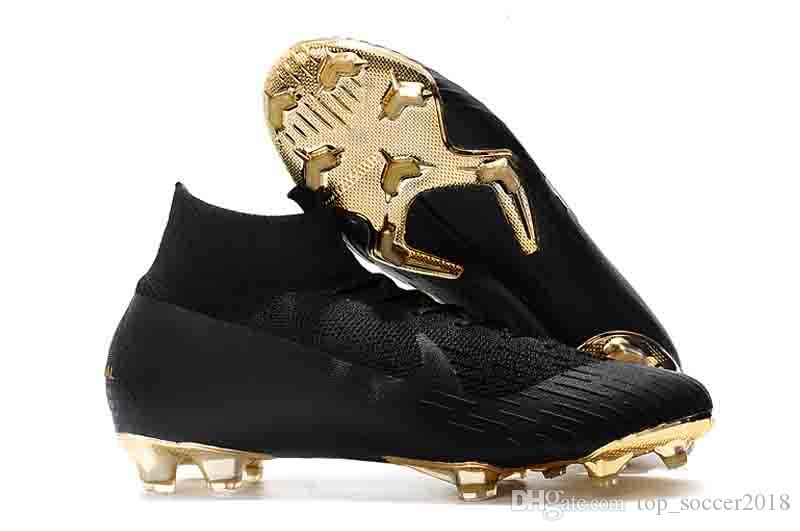 Black Gold Original Ronaldo morsetti di calcio Mercurial Superfly VI 360 Elite Neymar FG CR7 scarpe da calcio all'aperto 7 Elite SE FG Scarpe da calcio