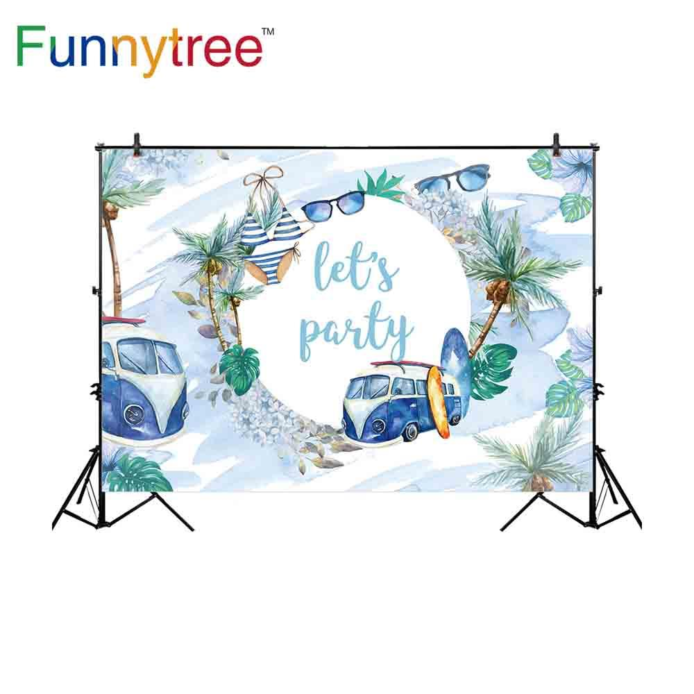 wholesale backdrop for photographic studio summer holiday party custom Bus coconut tree background photocall photobooth prop