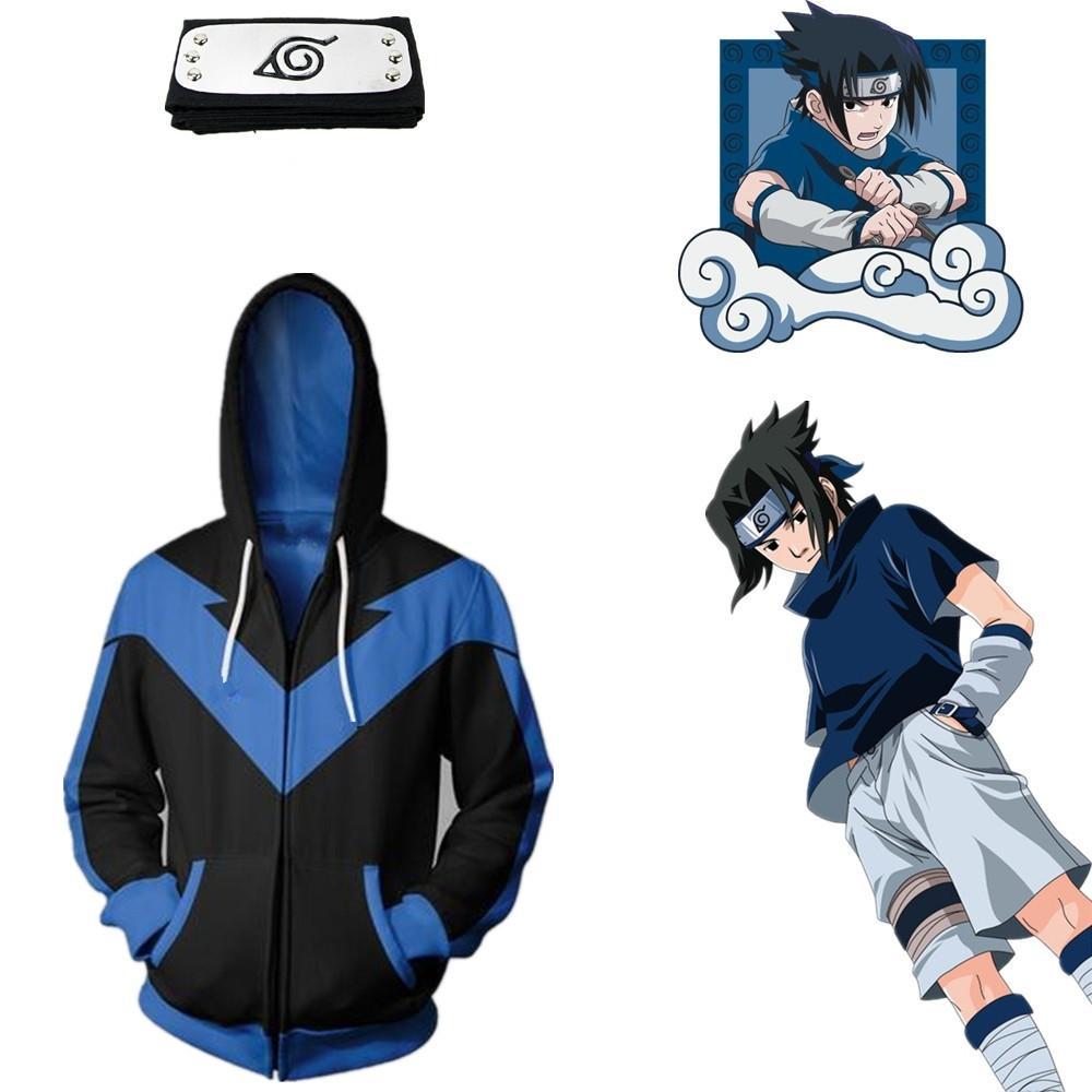 Asian Size Japan Anime Naruto Hokage Sasuke Halloween 3D Zipper Cosplay Costume Long Sleeve Jacket Loose Coat Hoodie