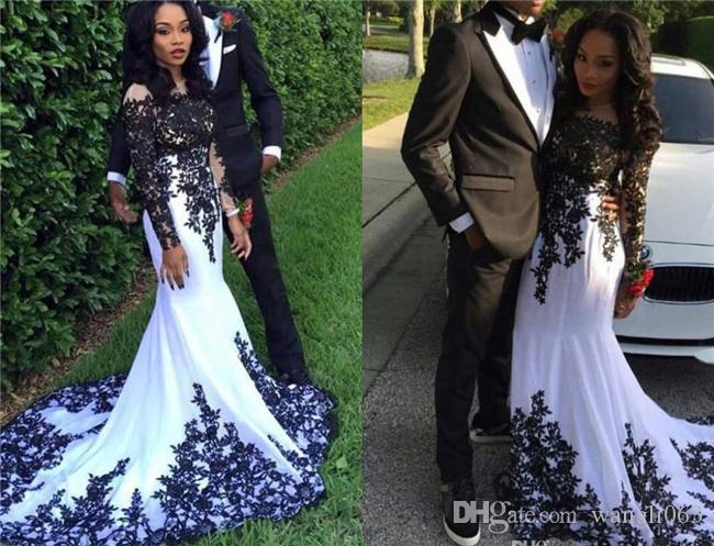 Black And White Lace Prom Dresses Lace Long Sleeve Nigeria Girls Mermaid Arabic Occasion Evening Dress