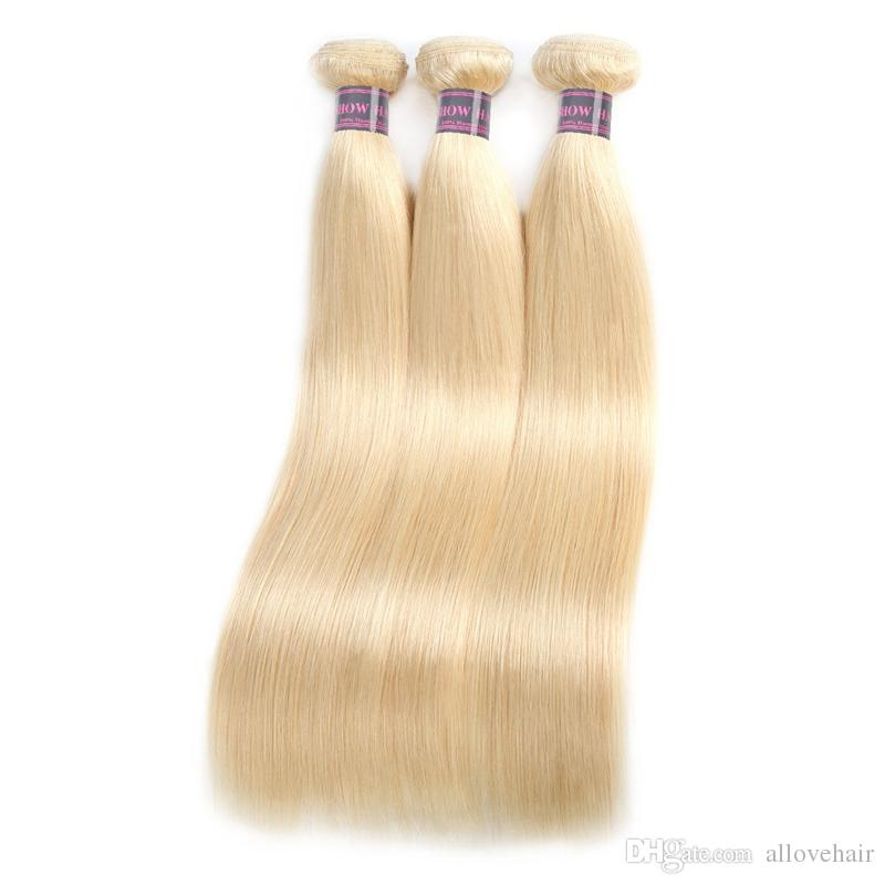 Top Selling Brazilian Hair 613 Silky Straight Hair Blonde Bundles 4pcs Color Good 10A Malaysian Peruvian Virgin Human Hair Extensions