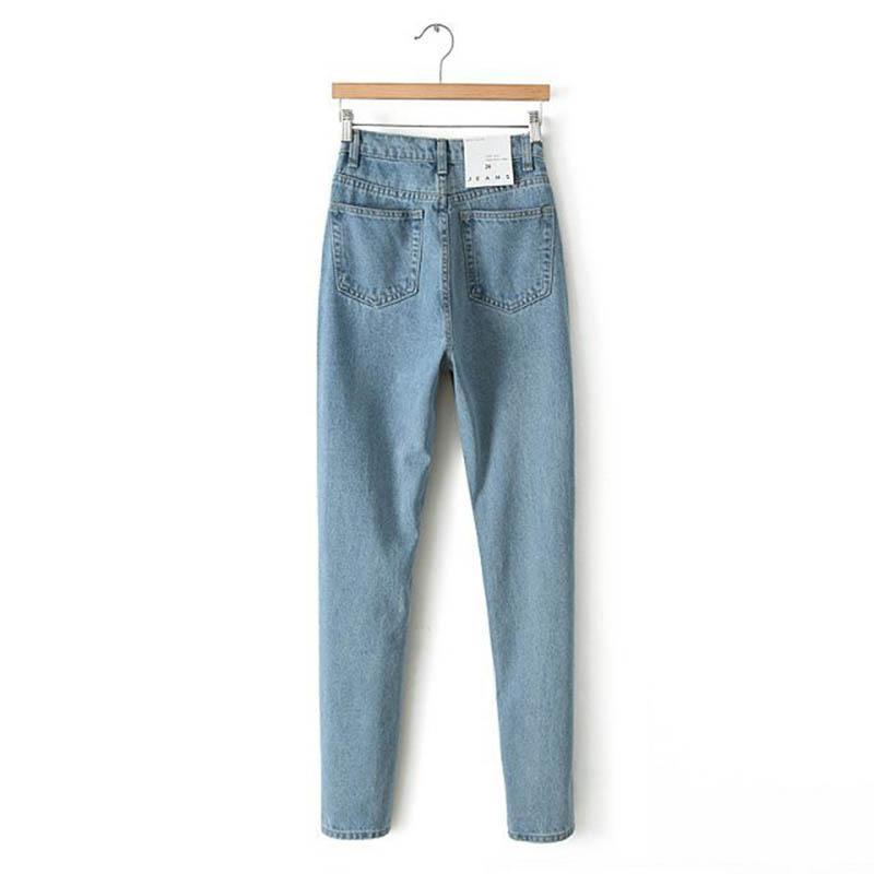 Pantaloni donna vita alta Denim Jeans Vintage Slim mamma a forma di matita Jeans Denim di alta qualità per le donne