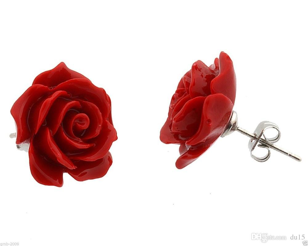 Ювелирные изделия 12 мм красный коралл роза цветок 925 стерлингового серебра серьги натуральный камень стерлингового серебра 925 серьги свадебные украшения
