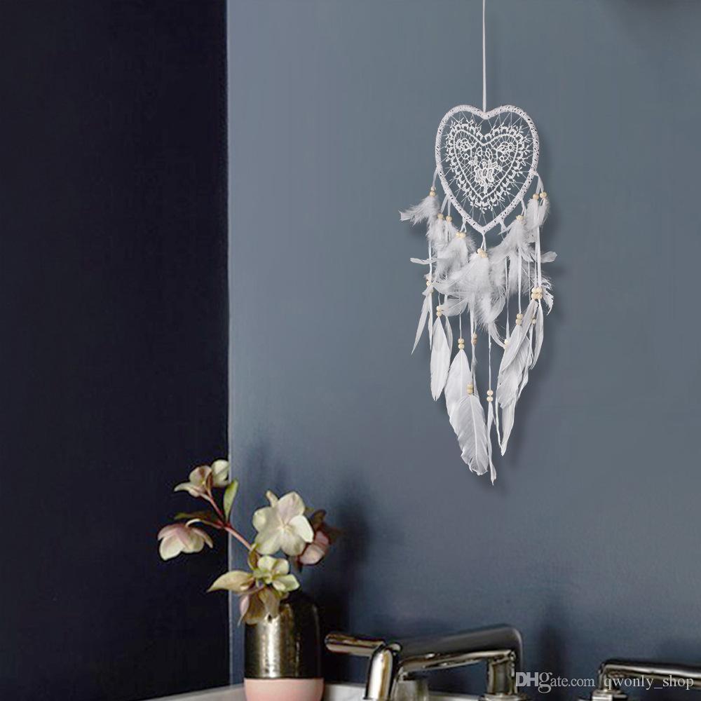 Laço branco Dream Catcher Penas Beads Artesanais Circular Coração Net Dreamcatcher Casa Pendurado Decoração Do Casamento Ornamento