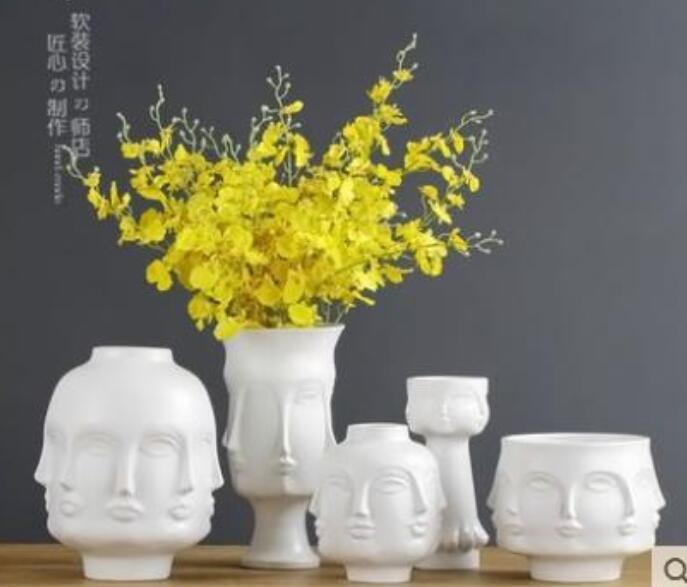 white Nordic ceramic creative people face vase pot home decor crafts room decoration object porcelain Vintage Art flowers vases