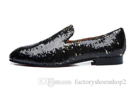 Mocassini Glitter in pelle nera Mocassini da uomo Mocassini Smoking Slip-on Wedding Party Dress Shoes Flats Casual Shoes Man