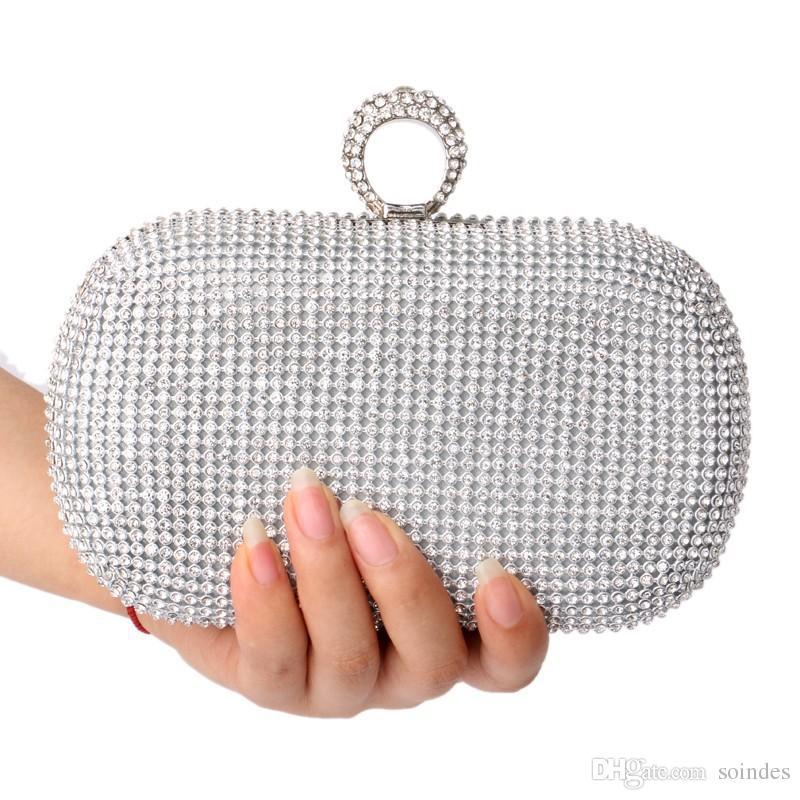 النساء الراين مخلب أكياس الماس البنصر أكياس مساء الكريستال الزفاف حقائب الزفاف أكياس محفظة حامل