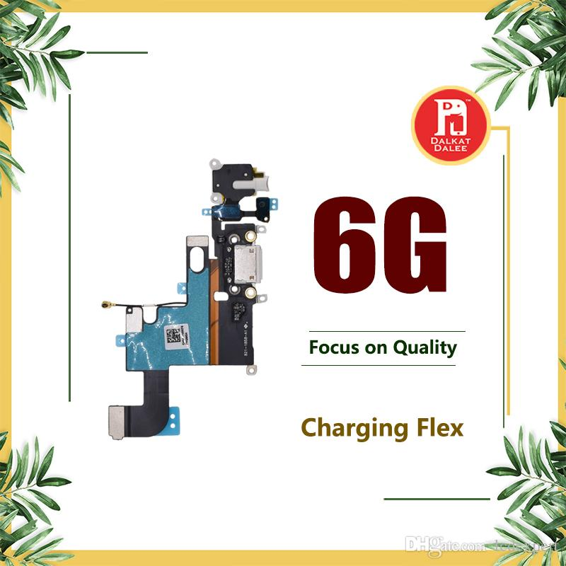 "Charging Charger Port USB Dock Connector Flex Cables For iPhone 6 4.7"" Headphone Jack Mic Flex Cable White Dark Gray Light Gray"