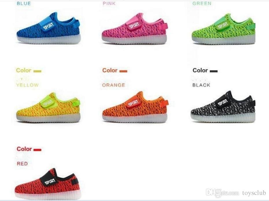 20 Lote Crianças LED Luminosa Sneakers USB Recarregável Criança Air Mesh Meninos Meninas Esportes Sapatos Respirável Acender Sapatos Casuais