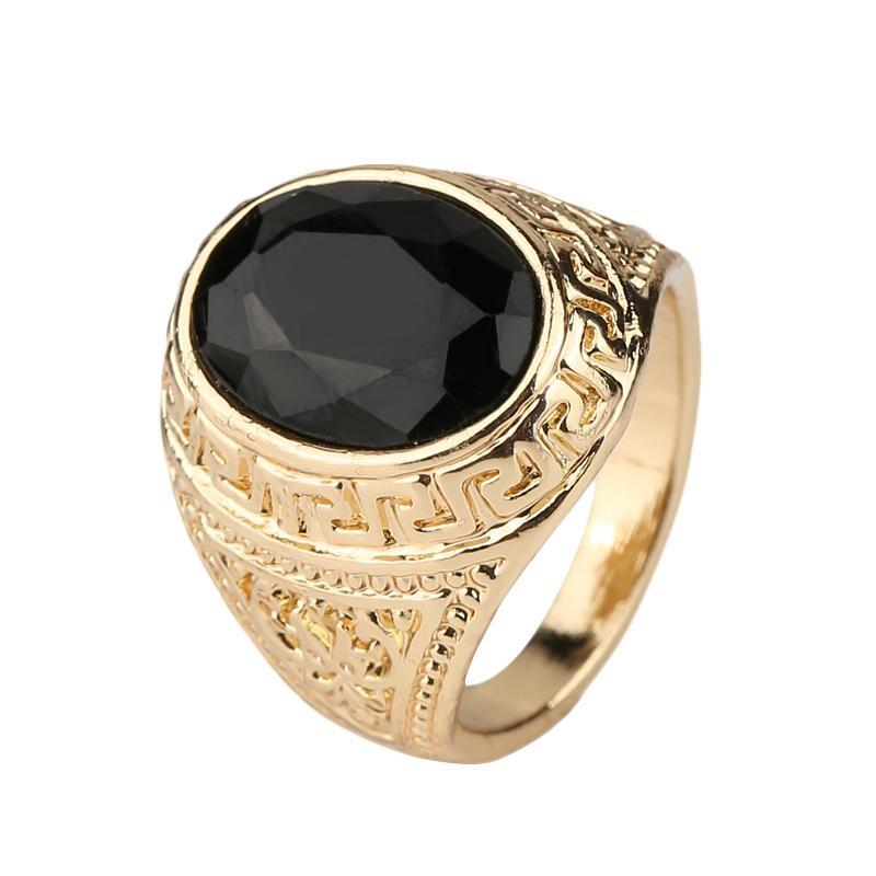 Black Precious Stones Real 18K Gold Ring For Men Retro Texture Engraving Modelling Is Simple And Generous Wholesale