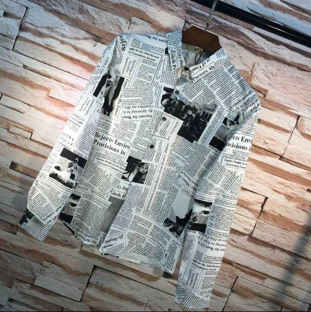 Yeni Metroseksüel kişilik ince Erkek Giyim Erkek vintage Moda gazete baskı sanat uzun kollu gömlek Boy Casual Tops