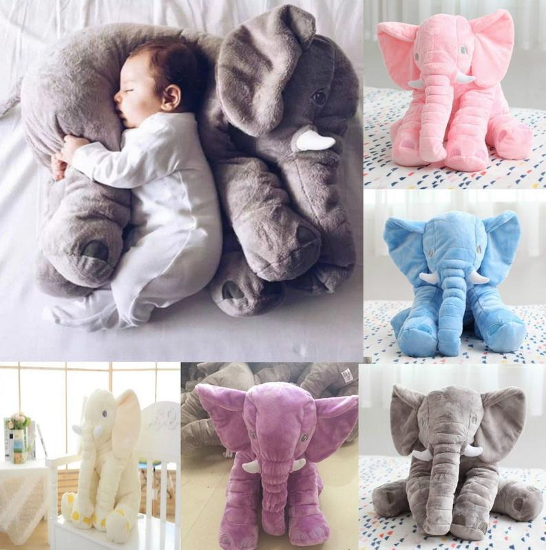 1pcs 그레이 40cm 봉제 코끼리 베개 키드 자 뒤로 쿠션 인형 아기 베개 코끼리 인형 아기 쿠션 침대 선물