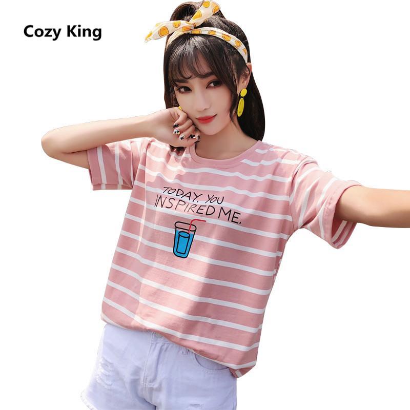 Maglietta Cosy King donne 2018 estate hot nuova manica corta o-collo moda casual selvaggio allentato stile preppy T-shirt stampa a righe