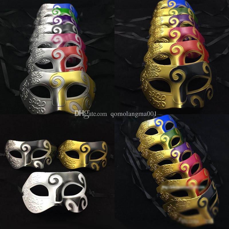 11 Colors Retro Roman Gladiator Halloween Costume Party Facial Masquerade Mask Venetian Dance Party Mask Men Mask