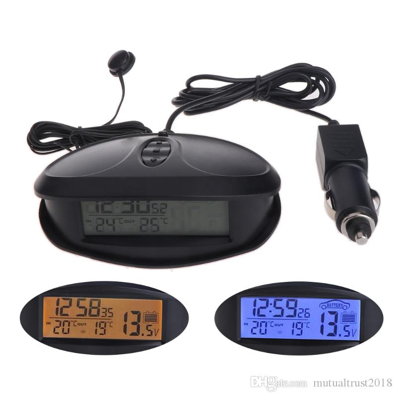 Digital Car Thermometer Luminous LED Table Clock Indoor/outdoor Thermometers Voltmeter Time Blue Orange Backlight EC98