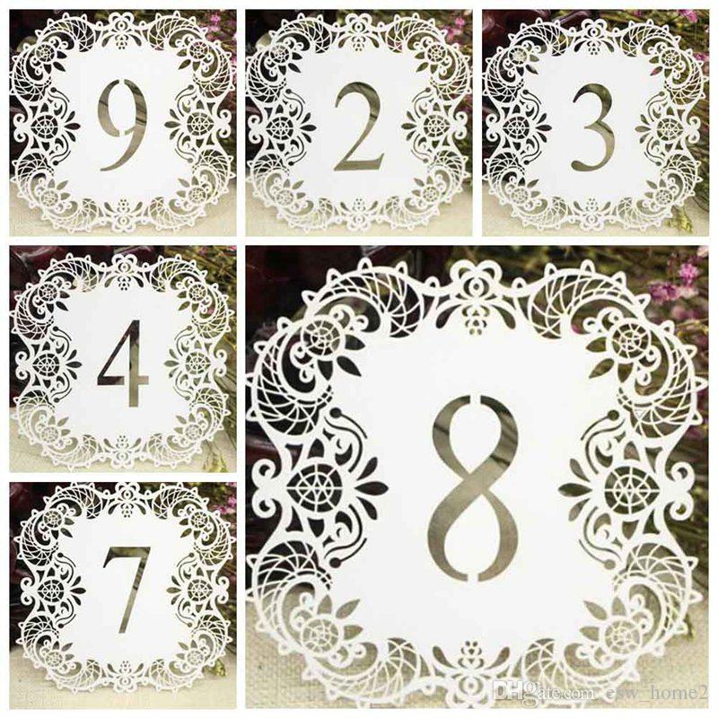 Table Numbers 1 to 10 Hollow Out Laser Cut Ivory Wedding Party Table Decorations