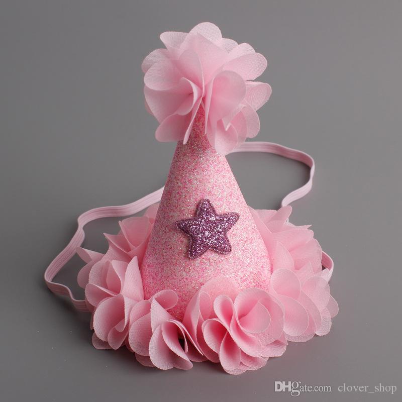 Прекрасный милый новорожденный ребенок День Рождения шляпа со звездой оголовье ленты для волос дети ребенок партии цветок шапка повязки аксессуары