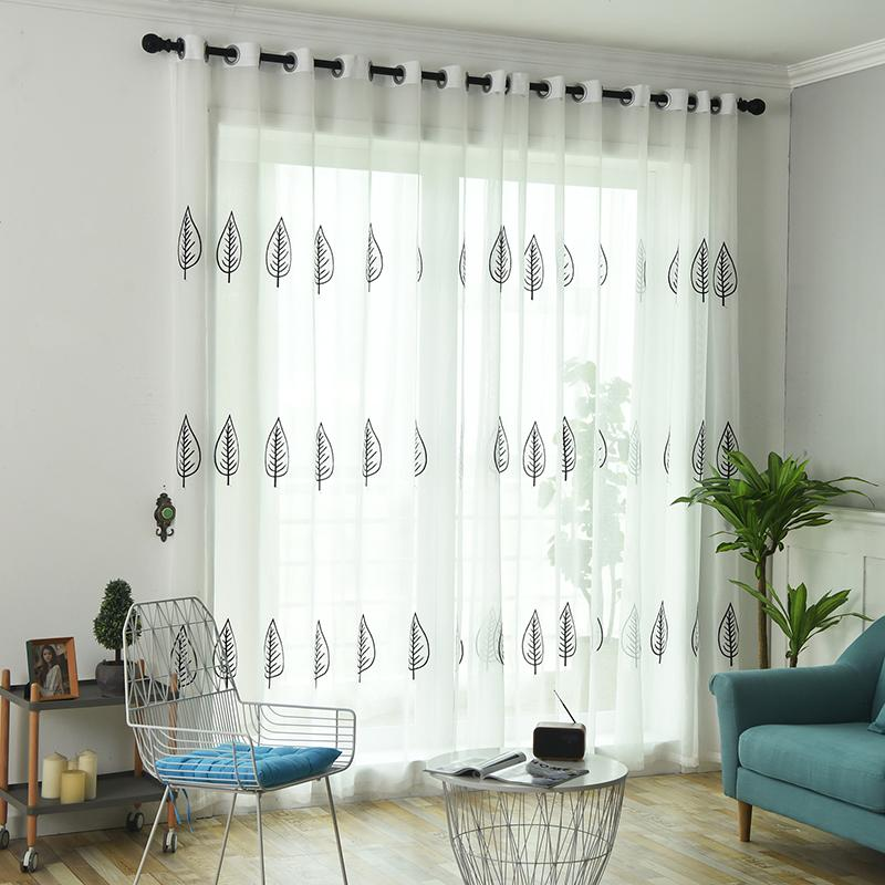 White Sheer Curtains Home Decor Embroidered Tulle Fabric Nordic Style Black Leaves Kitchen Curtain