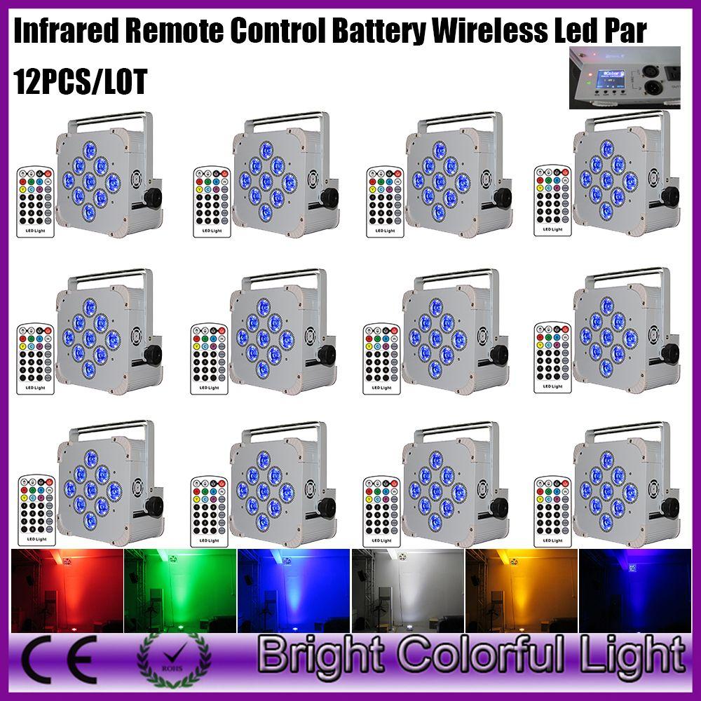 12Xlot new design 9x18W rgbwauv battery led uplighting wireless Dmx &IRC led slim flat par cans lights DHL free shipping