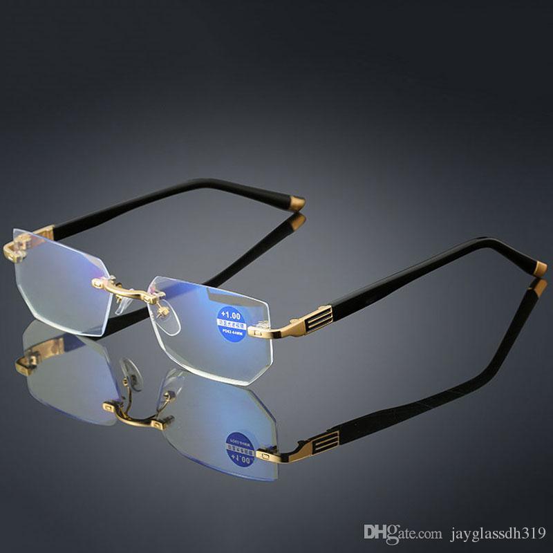 Новый анти-синий свет Очки для чтения Пресбиопические очки Прозрачное стекло Объектив унисекс очки без оправы Оправа очков Сила +1.0 ~ +4.0