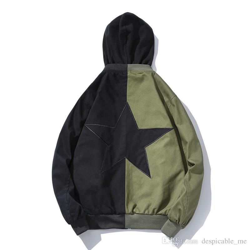 Voltar estrela de cinco pontas Patchwork homens novos Casaco Com Capuz jaqueta casual Falso dois bordados de alta qualidade dos homens jaqueta Plus size