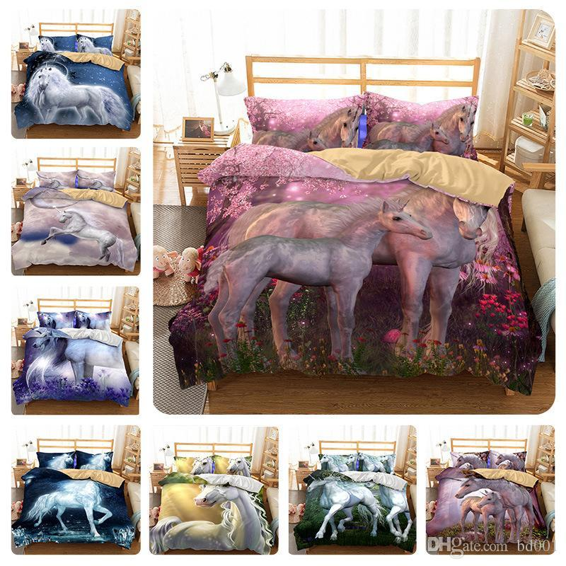 3D Cartoon Unicorn Bedding Sets Flying Horse Pillow Case Quilt Cover Four Piece Suit Duvet Covers Polychromatic For Children 90tm9 ff