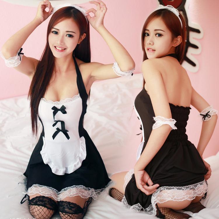 Trajes de mucama atractivos mujeres vestido de uniforme negro traje de encaje Cosplay de Halloween trajes de mucama francés traje juego uniforme lencería sexy S927