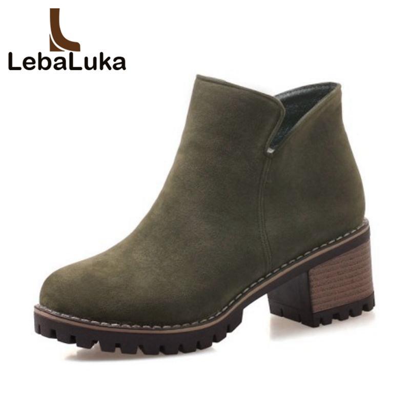 venta al por mayor tamaño 34-43 mujeres botas de tacón alto cremallera de tobillo zapatos de piel caliente mujer punta redonda botas clásicas de invierno de tacón grueso