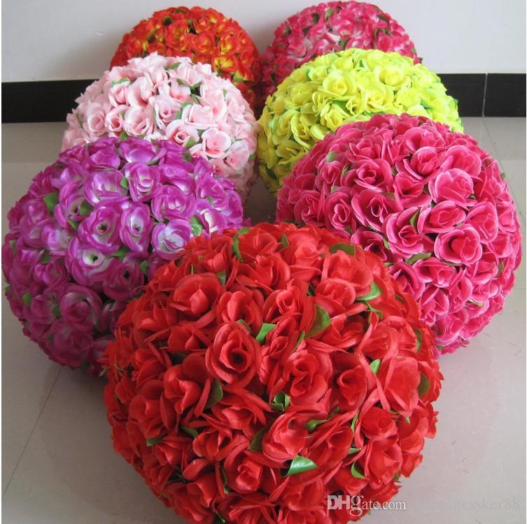10pcs Artificial Rose balls Silk Flower Kissing Balls Hanging rose Balls Christmas Ornaments Wedding Party Decorations rose bouquet