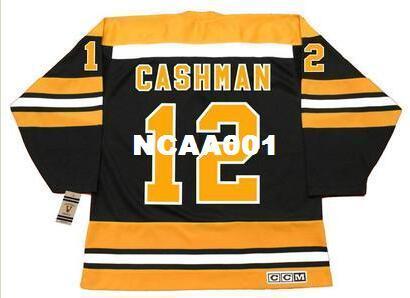 Maillot pour homme # 12 WAYNE CASHMAN Boston Bruins 1974 Maillot de hockey Vintage Away pour CCM ou jersey personnalisé