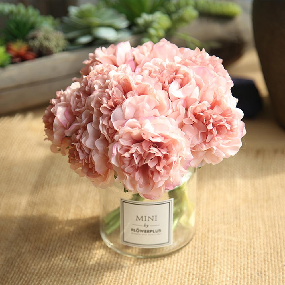 Artificial Flowers Peony Bouquet for Wedding Decoration 5 Heads Peonies Fake