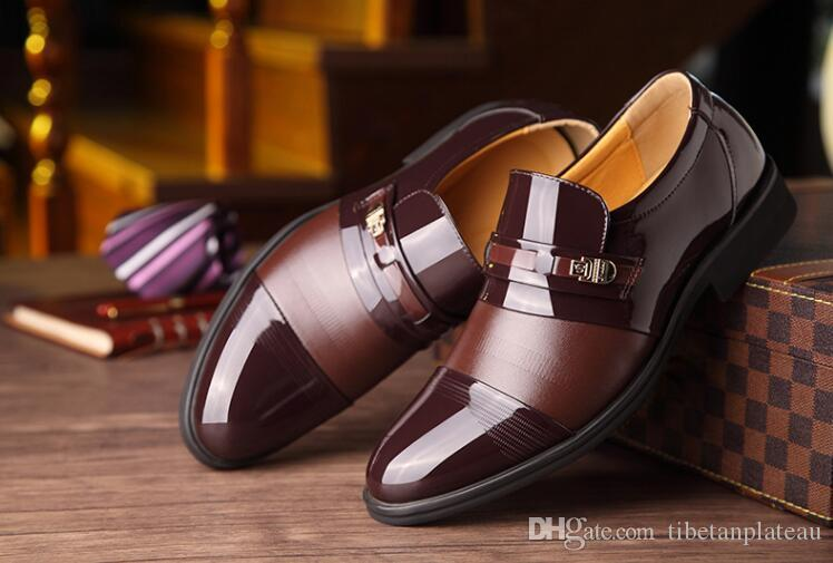 Nowe naśladowanie 2018 Męskie buty Oxford Slip-on Casual Biznes Okrągłe palceki Patchwork Klamra Size48 Mężczyzna Sukienka Buty Homme Classique