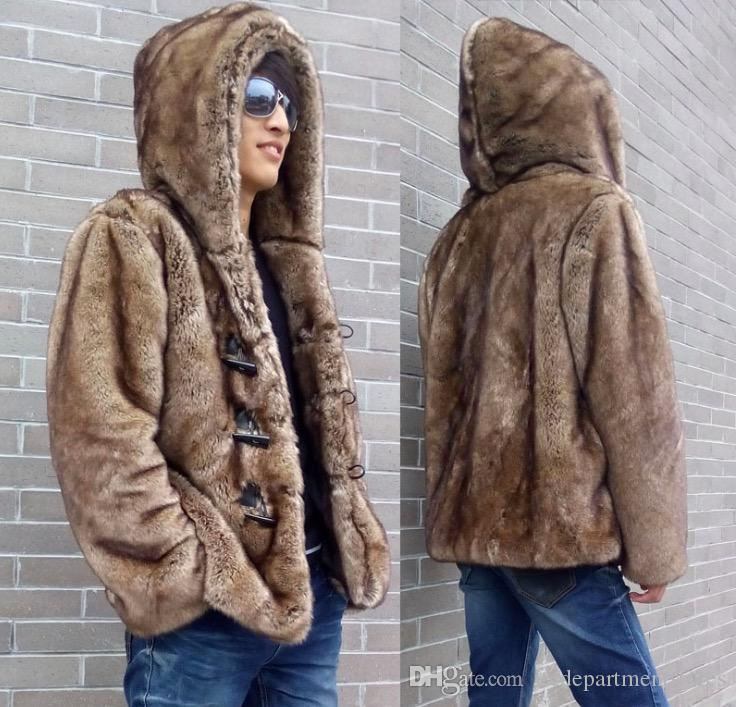 Chic Korean Fur Winter Coat Mens Button Hooded Duffel Short Furry Luxury Peacoat Warm Thicken Parkas Plus Size S-6XL