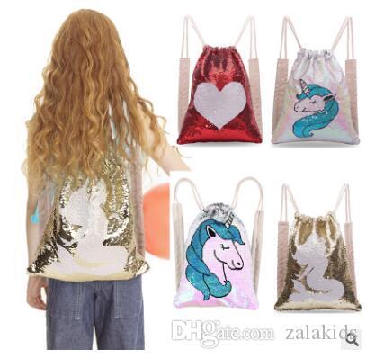 Оптовая продажа-горячий продавать блестки Единорог русалка рюкзак женщины путешествия рюкзак шнурок школьная сумка Спорт путешествия сумки на ремне