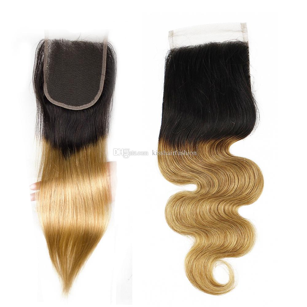 4x4 Lace Closure Ombre Color Human Hair Free Middle Three Part Closure Straight Body Wave T 1b 27 Honey Blonde 8-20 inch