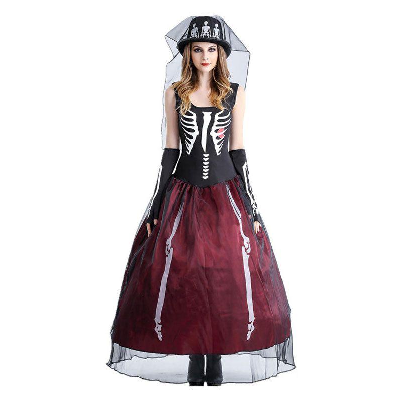 Umorden Purim Carnaval Halloween Corpus Squelette Fantôme Mariée Costumes Femmes Costume effrayant pour adulte Cosplay Dress Skull Hat