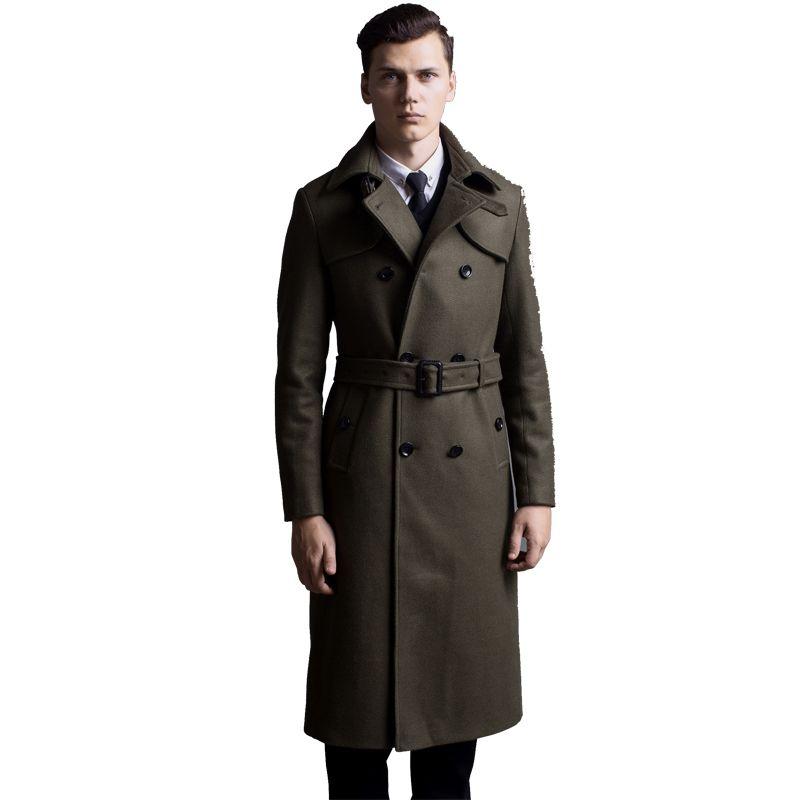 엑스트라 롱 모직 코트 남성 브리티시 더블 브레스트 모직 트렌치 코트 남성 슬림 피트 고전 군대 녹색 따뜻한 완두콩 코트