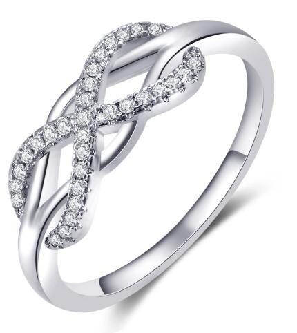 alta qualità anelli della traversa di modo Micro inlayed per le donne anello di cristallo di nozze cubico zircone CZ oro rosa di colore