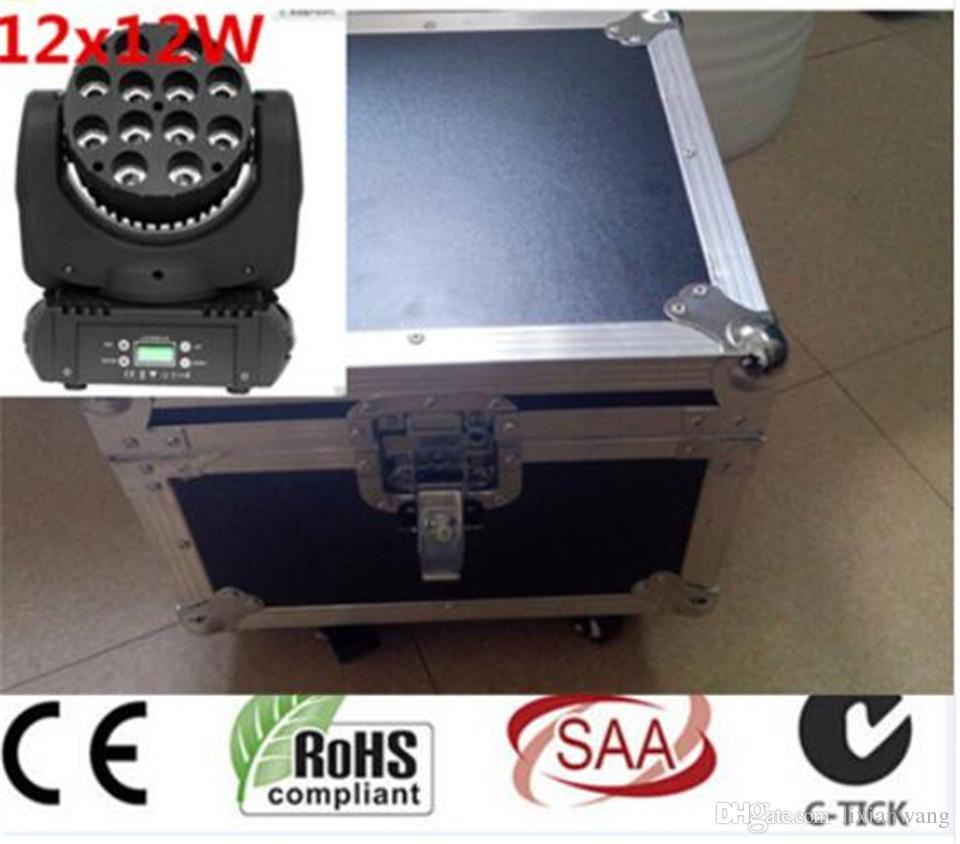 2pcs / lot 12x12w con flight case 150w a led beam moving testa luce dj apparecchiatura 12x12w rgbw (cmy) quad