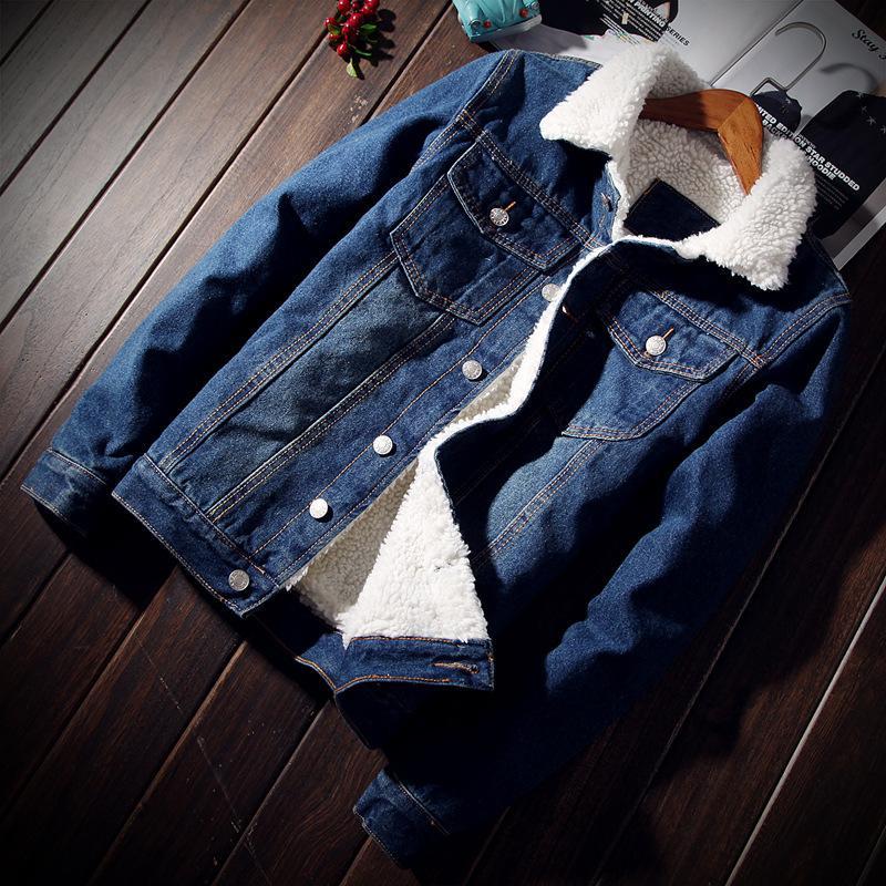Männer Jean Jacke Mode Herren Jacke Dicke Warme Winter Outwear Männlich Cowboy Casual Schlank Langarm Mantel Im Freien Size2XL
