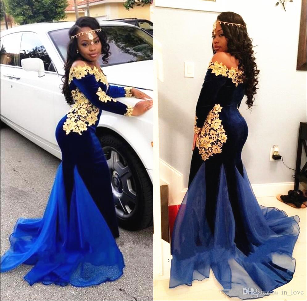Royal Blue Velvet Gold Lace Prom Dress 2019 Design unico manica lunga Off spalla sirena abiti da sera indossare abiti su misura
